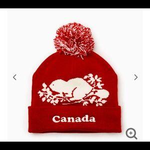 (NWT) Roots Canada Unisex Pom Pom Toque Red Beanie
